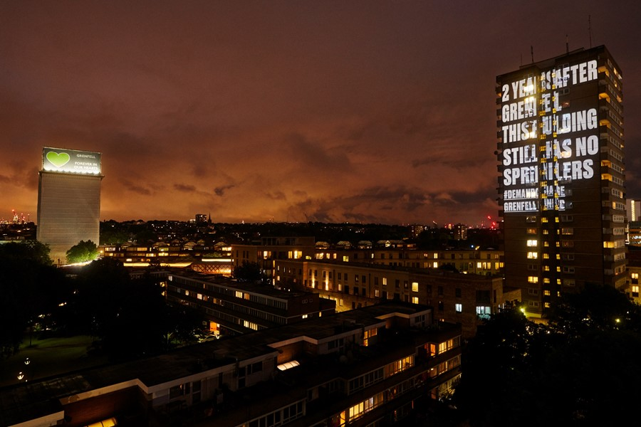 Grenfell United projections London with Grenfell Tower