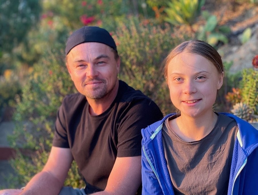 Leonardo DiCaprio greets Greta Thunberg, calling her 'leader of our time'