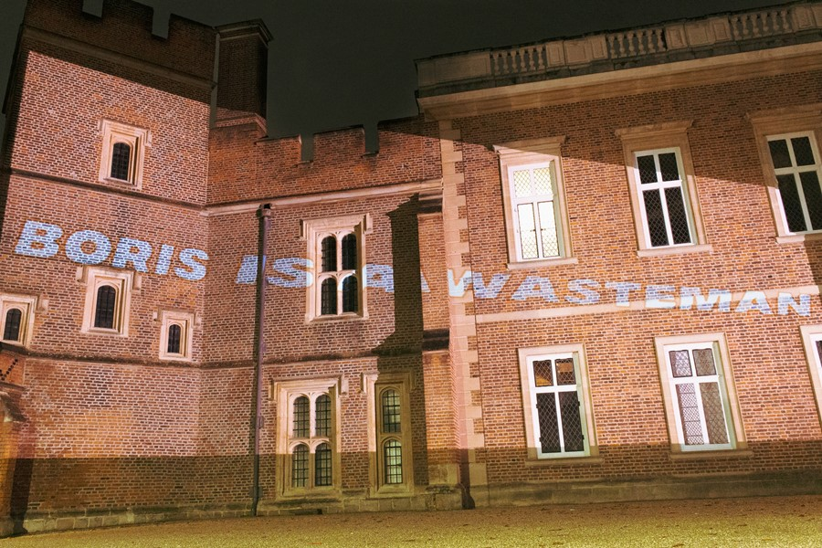 'Boris is a wasteman' projected onto Eton College