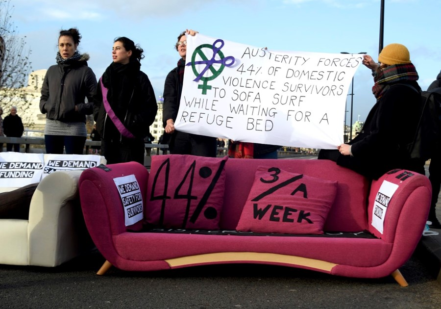Sisters Uncut block Waterloo Bridge to protest domestic violence cuts