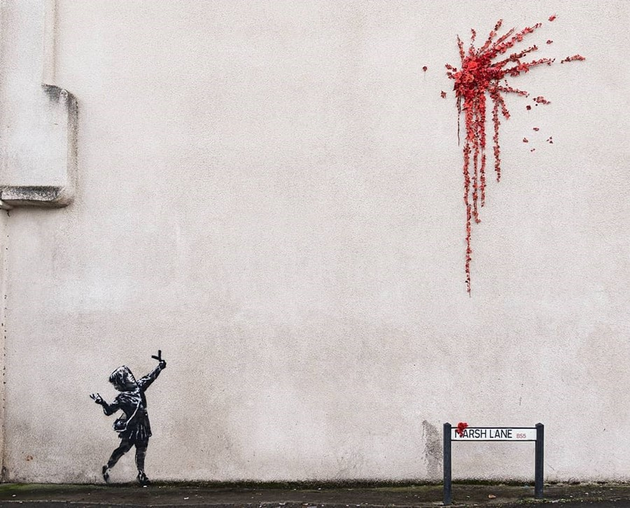 A Banksy Valentine's Day mural has appeared in Bristol