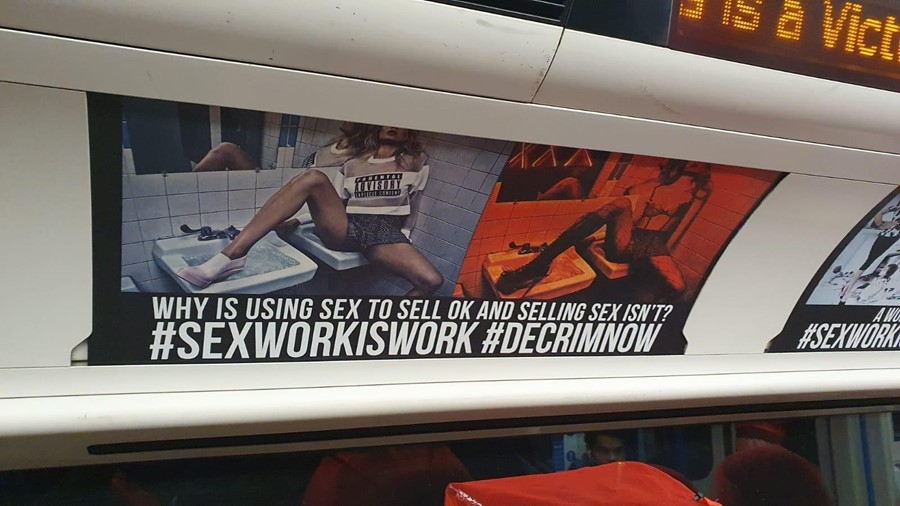 Sex work poster, London tube