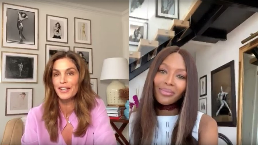 Naomi Campbell and Cindy Crawford no filter youtube live