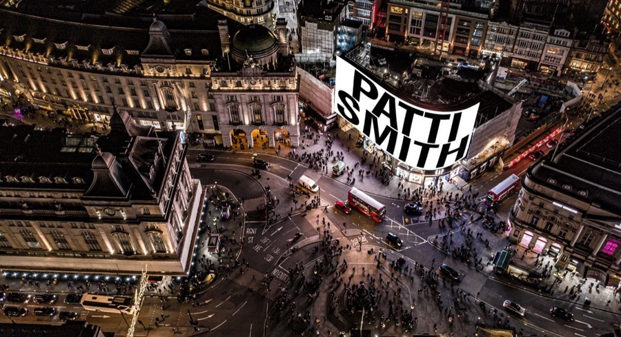 Patti Smith at Piccadilly Circus