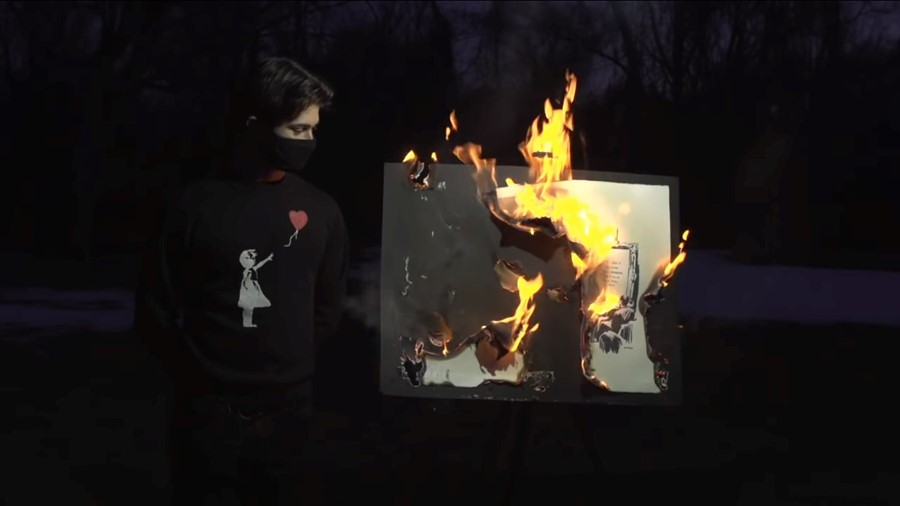 Banksy on fire, Morons (White)