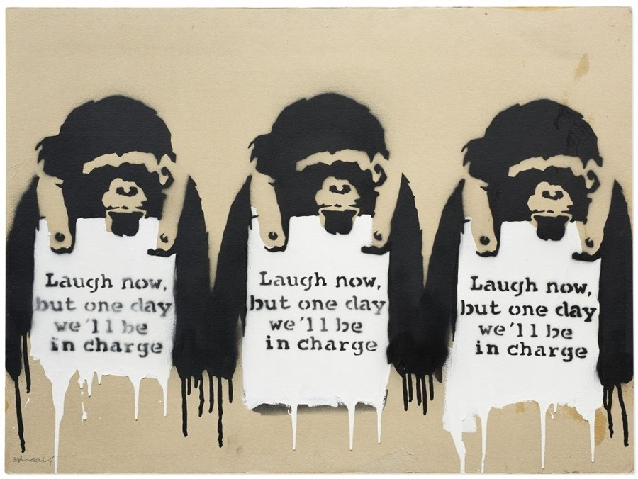 Banksy, Laugh Now But One Day We'll Be In Charge (2002)