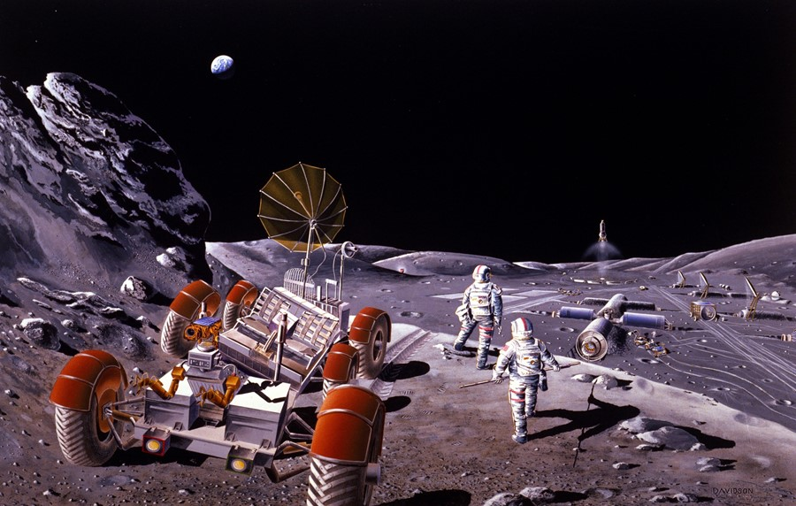 Moon colony with rover